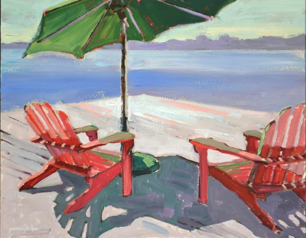 Red Adirondacks and Green Umbrella