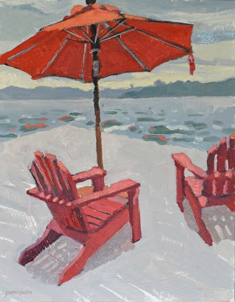 Red Adirondacks and Red Umbrella
